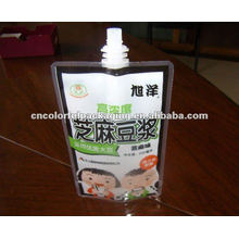 self-standing soybean milk packaging bag with suction nozzle