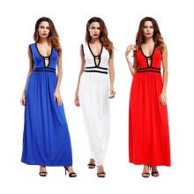 Hot selling sexy women party dress polyester soild color V-neck sleeveless long bodycon dress