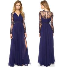 Fashion Chiffon Women Long Sleeve Maxi Free Prom Dress