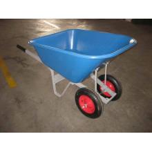 Grande brouette de roue de double roue de plateau en plastique
