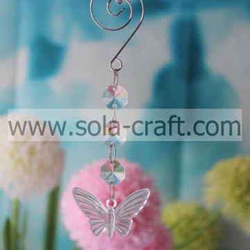 Various 13.5CM Transparent Plastic Pressed Butterfly Christmas Tree Beaded Garland Prism