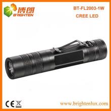 Factory Wholesale High Power 1 * aa Powered Aluminium Noir Petit Portable 1watt Cree Meilleure lampe LED avec clip