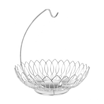Modern Living Room Coffee Shop High Quality Classic Metal Wire Hanging Type Drain Fruit Basket Banana Stand