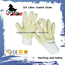 Baumwolle oder Jersey Liner mit 3/4 Gelb Latex Crinkle Finished Safety Cuff Handschuhe