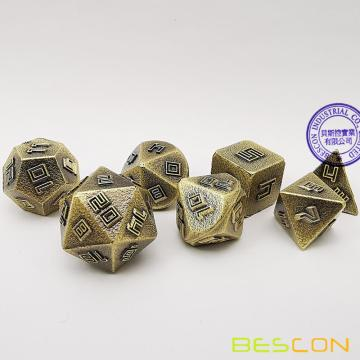 Bescon Brass-Ore Lode Solid Metal Dice Set, Raw Metal Polyhedral D&D RPG 7-Dice Set