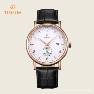 Petite montre-bracelet en cuir noir de date de cadran automatique des hommes 72287