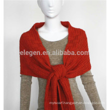 Acrylic Knitted pure color scarf with fringe