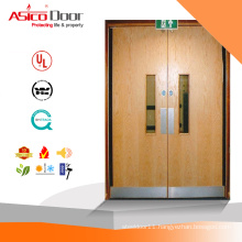Solid Wooden Fire Rated Standard Size Hospital Door With Glass Window