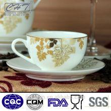 200ml Hot vender ouro porcelana pequeno café e chá xícara e pires conjunto