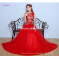 Red Evening Dresses Floor Length High Quality Tulle China Tradition Style Embroidery Floral Print Long Evening Gown