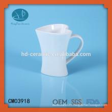 white heart shaped ceramic mug,heart mug,customized mug