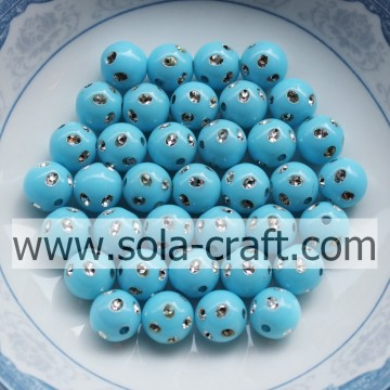 Fantastic Turquoise Color Plastic Round Diamond-studded Beads 5MM