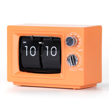 Orange Small Desk TV Flip Clocks mit Licht