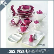 Ensemble de dîner de porcelaine de mélange de couleurs de 61PCS, ensemble de dîner latéral de huit, porcelaine blanche