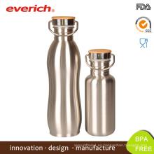 Everich Reflect Láser Botella de acero inoxidable con cubierta de bambú