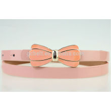 2014 summer season new design of kids fashion PU belt with bow buckle