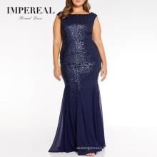 Sleeveless Fishtail Sequin Long Women Plus Size Evening Dress