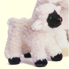 Schafe bedrängen das Hasenplüschspielzeug