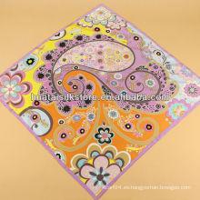 Bufanda de seda floral de seda y estampado de estampado de Paisley