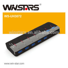 7 ports USB 3.0 HUB avec adaptateur secteur, concentrateur USB 5Gbps, Plug-n-Play fuction, CE, FCC