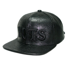 Snake Skin PU Leather Embroidery Caps