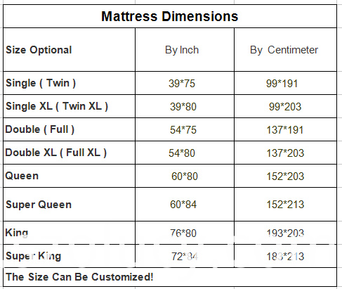 Mattress Size For Olucy Brand