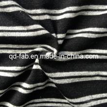 Poli / rayon / spandex fio tingido tecido de confecção de malhas (qf13-0697)
