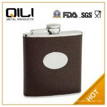 Bolsa de couro do FDA 6oz marrom texturizado couro capa (couro de vaca) garrafa anca