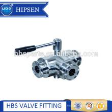food grade sanitary stainless steel clamp three way ball valve