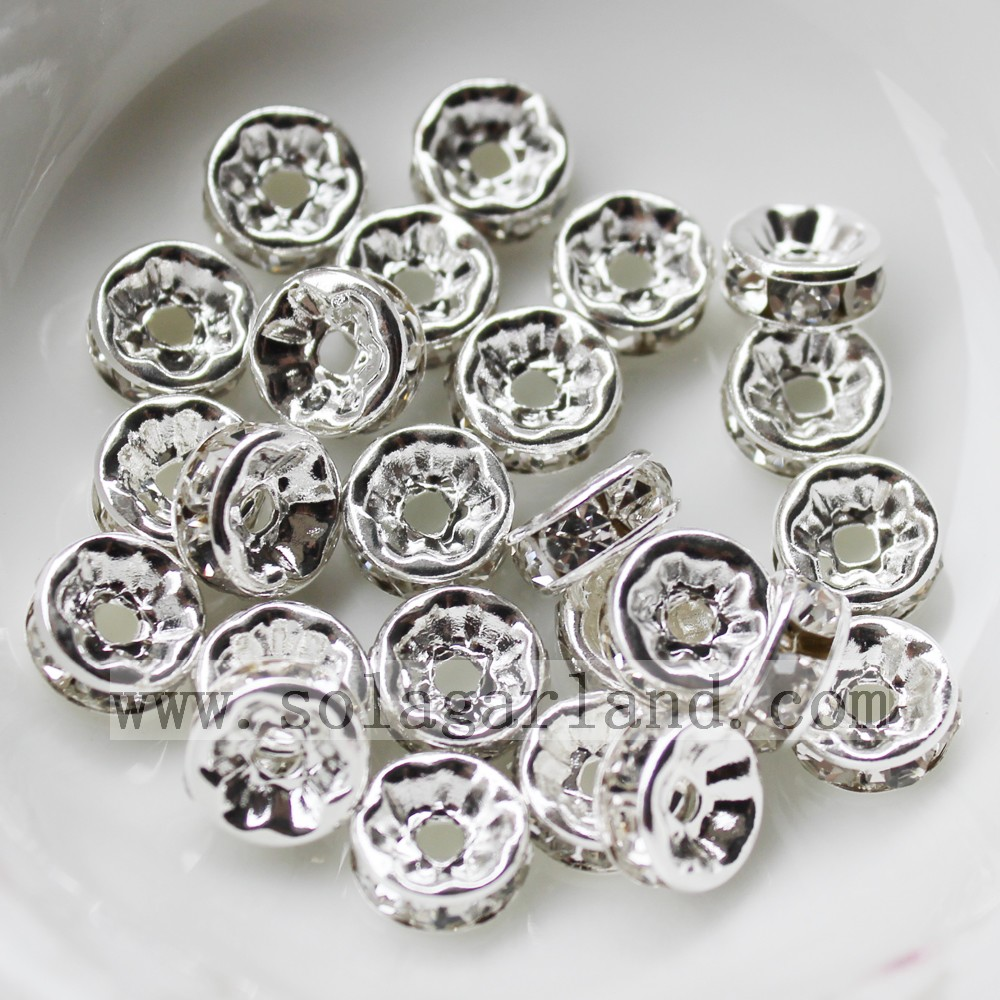 Pave Silver Rondelle Spacer Beads
