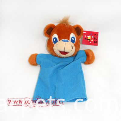 bear with blue t-shirt hand puppet