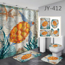 4pcs/set Shower Curtain Bath Mat Toilet Pad Set, Non-slip Bathroom Decor Carpet Waterproof Shower Curtain Set