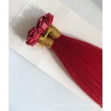 red flat tip 8A Brazilian hair pre bonded virgin hair flat tip hair for sales