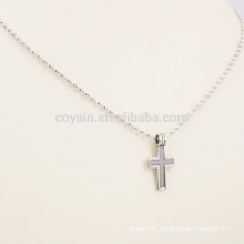 Two Tone Stainless Steel Trendy Multi Strand Cross Necklace With Ball Chain