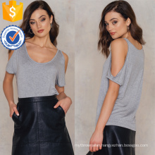 Loose Fit Cold-Shoulder Short Sleeve Grey Summer Top Manufacture Wholesale Fashion Women Apparel (TA0080T)