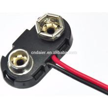 Clip a presión de la batería del alambre al por mayor 9v por encargo