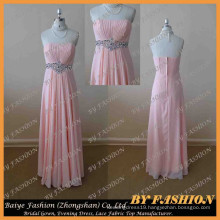 Made in China Pictures of Latest Pageant Dress Strapless Evening Party with Rhinestones Bridal Gown BYE-14048