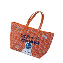 PU leather graffiti tote bag women's big hand bag shopping bag
