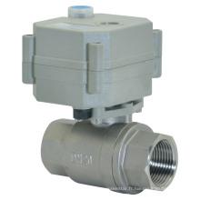 Vanne à bille d'eau en acier inoxydable à débit mécanique à 2 voies avec fonctionnement manuel (T20-S2-B)