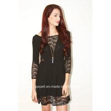 Women Fashion Ladies Hight Waist 3/4 Sleeve Sexy Lace Dress