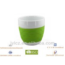 220cc Bauch Form Kaffee Geschenk Becher mit Silikonband, medial Größe, 4er Set in PVC