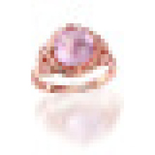 3.30CT Special Cutting Round Natural Rose Quartz Rings 925 Sterling Silver for Women Luxury Engagement Jewelry