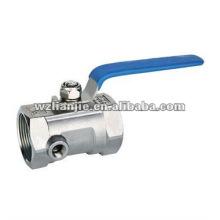1-PC eau pression inox robinet à bille avec trou de tests