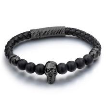 Leather rose gold skull charm onyx bead bracelet