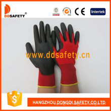 Nylon Polyester Liner Glove PU Coated on Palm and Fingers Dpu138