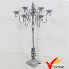 Rustic Grey Antique Metal Candelabra with Crystal Decoration