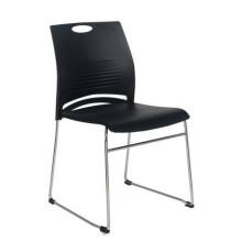 Chaise de bureau en plastique empilable de cadre en métal de siège sans chaise de formation de salle de conférence de roues
