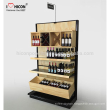 Provide Attractive And Creative Fold-able Wine Rack Display Floor Standing Bamboo Beer Bottle Retail Store Wooden Display Shelf