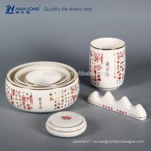 Chino tradicional El erudito Cuatro joyas con la poesía antigua, porcelana conjunto de la porcelana