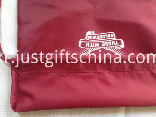 Branded Logo School Polyester Drawstring Backpacks W PU Corner Cover (2)